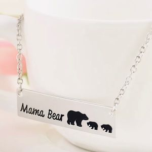 Mama bear bar pendant silver necklace NEW